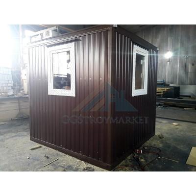 Блок контейнер, Пост охраны 3х2.4м с двумя окнами ПВХ