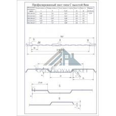 Профнастил С8  Pe 0,4 (эконом) мм RAL 9003 сигнальный белый