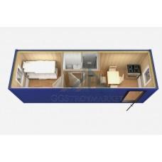 Модульная бытовка БК 6х2,4 с туалетом и душем (малый санузел в центре)